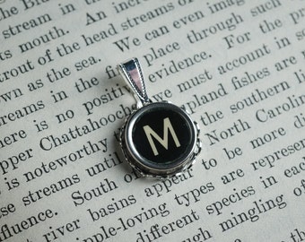 Initial TYPEWRITER Key PENDANT Letter M Black or Light Jewelry Vintage Unique Gift