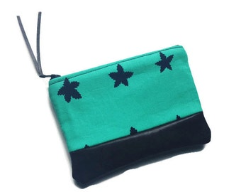 Stars in Blue Leather Coin Purse, Leather Zipper Pouch, Change Purse, Small Fabric Leather Wallet, Coin Pouch, 144 Collection