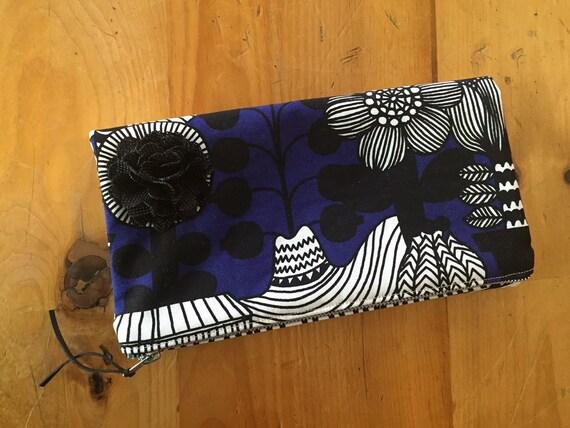 Blue Foldover Clutch Bag, Healthy Gardens Black Clutch Handbag, Blue and Black Evening Bag, Clutch Purse, Zipper Purse, Flower Clutch Pouch