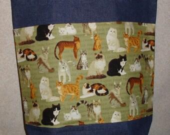 New Large Handmade Cats Kitties Kitty Green Background Theme Denim Tote Bag
