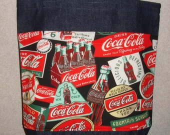 New Medium Denim Tote Bag Handmade with Coke Coca Cola Signs Fabric