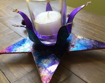 Metal Star Galaxy Candle Holder