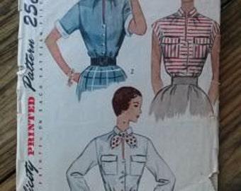 Vintage 1950s Pattern Blouse Simplicity 3427 B34 2015365