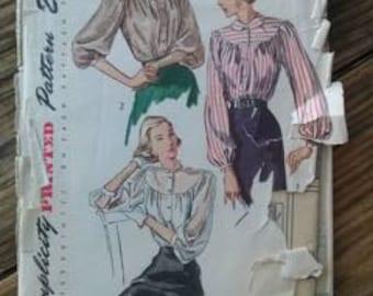 Vintage 1940s Pattern Blouse Simplicity 2734 B34 2015365