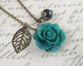 Emerald Green and Bronze Flower and Leaf Charm Wedding Necklace