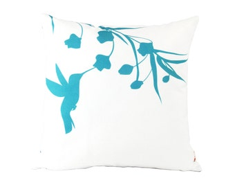 Teal on White Print Hummingbird with Eucalyptus 16 inches Square Pillow