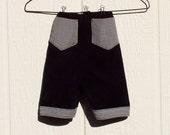 Black Corduroy with Gingham Trim Pants Size Newborn