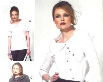 Katherine Tilton ASYMMETRIC Cowl Neck BLOUSES Pattern - Sizes 10-12-14-16-18 - Vogue 8834
