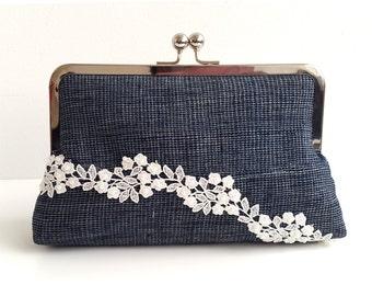 Clutch purse, Blue clutch bag, Aso-oke and Lace, Evening clutch, Wedding accessory, Etu Mini Snap Clutch, Woven Nigeria fabric bag