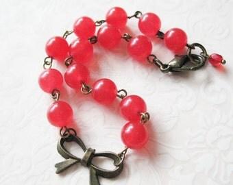 Pretty Bow Red Beaded Bracelet. Candy Jade Bracelet