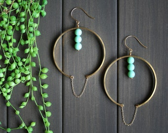 Nubia Earrings - big statement modern minimal geometric sculptural big huge large hoops brass gold mint green circle chain african
