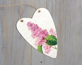 Tin Heart Tag with Lilacs, Shabby Home Decor