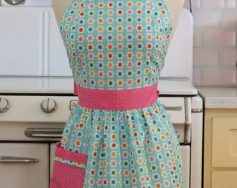 Retro Apron Colorful Daisies on Blue CHLOE
