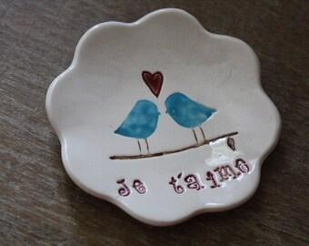 Ring Bowl Ring Dish Ceramic Love Birds Ring Holder Trinket Dish Handmade