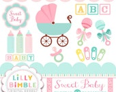 50% off Baby shower clipart carriage, rattles, bottles, safety pins, baby block clip art in Png and Jpg format Instant Download