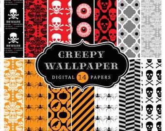80% off Halloween Digital scrapbook papers, Creepy Wallpaper, damask, skeletons, eyeballs, Instant Download