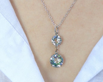 Vintage Art Deco, Crystal pendant necklace. Brilliant sparkling! Rhinstone pendant