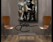 Bailar Conmigo- Original Abstract painting Modern pop Art large Woman Canvas Print by Fidostudio