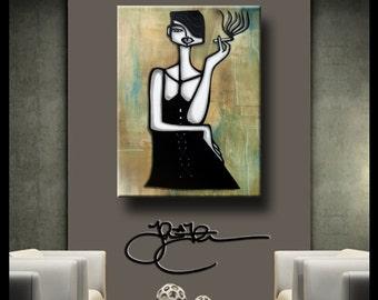 Original Abstract painting Modern Home Decor HUGE Canvas Wall Art smoking woman by Fidostudio