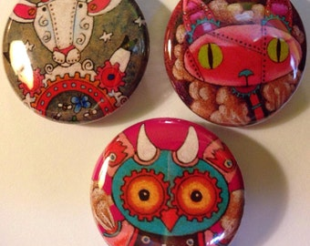 Mechanical Animal Sheep Cat Owl One Inch Pin Back ART Buttons