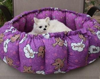 Cat Bed, Fabric Cat Bed, Purple Cat Bed, Washable Cat Bed, Handmade Cat Bed, Luxury Cat Bed, Designer Cat Bed, Round Cat Bed, Indoor Cat Bed