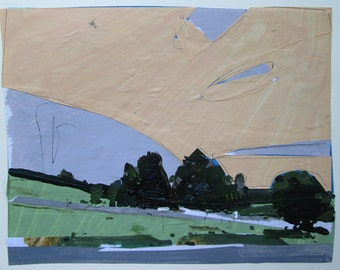 Entrance, Peach Sky, Original July Landscape Collage Painting on Paper, Stooshinoff
