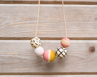 SHIPS TODAY Hand Painted Wooden Bead Necklace in Pink Lemonade,  Anna Joyce, Portland, OR.