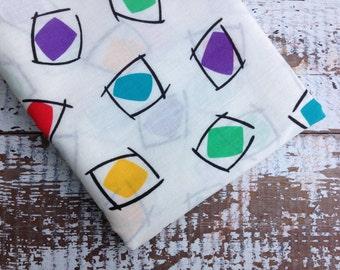Eighties Rainbow Fabric-  Reclaimed Bed Linen Fabric-Eighties Geometric
