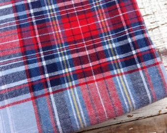 Classic Plaid Fabric-Reclaimed Bed Linens-Cabin Look-Red and Blue