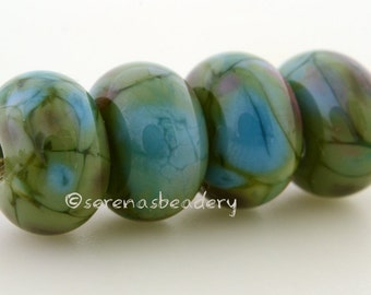 Handmade Lampwork Glass Bead Set - Icing on the Cake - TANERES - glossy or matte - green pink blue