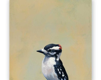 Downy Woodpecker - 8 x 8 Wings on Wood Decor