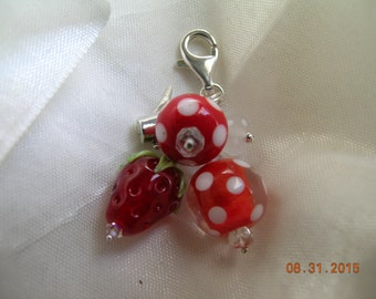 A Polka Dot Stawberry Lampwork SS Watering Can Purse Charm