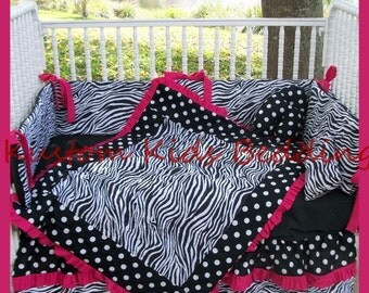 New 7 Pieces Black White Polka Dot Zebra and Hot Pink and Black fabrics Crib Bedding Set