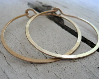 Satin Hoops - Handmade. Handforged. 14k goldfill hoops. Choice of 6 sizes