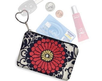 Small Zipper Pouch Red Zinnia  Floral Tapestry Coin Purse Keychain Key Fob  Business Card Holder Purse Organizer fabric black MTO