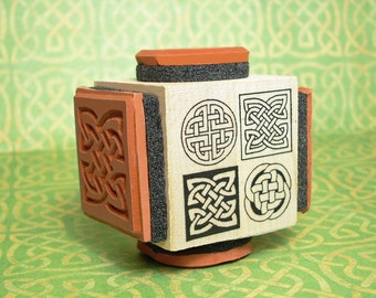 Celtic Knot Rubber Stamp Cube #1 Four Designs on One Mounting Round and Square Knots #L1000