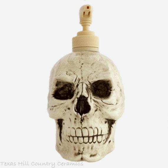 Creepy Aged Human Skull Soap Lotion Pump Dispenser Horror Halloween Decoration