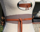 REVERSIBLE Leather And Fabric Belt Obi Wrap Sash - Rattan Cane - XS S M L Petite & Plus Size - choice of custom leather color for reverse