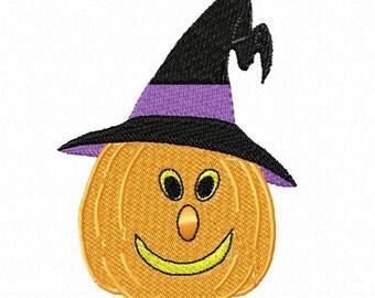 Smiling Pumpkin in Hat For 4 x 4 Hoops
