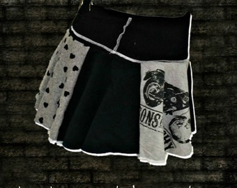 Womens Motorcycle Skirt . Sm/Med . from Sons of Anarcy shirt . Rockabilly Clothing . Recycled Gear . Upcycled . Twirl . Black . Gray . Grey