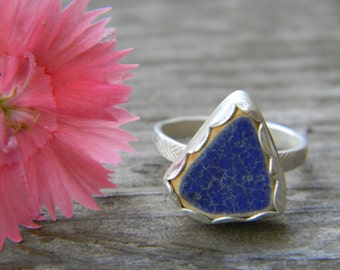 little blue sea pottery ring - sterling silver - size 6