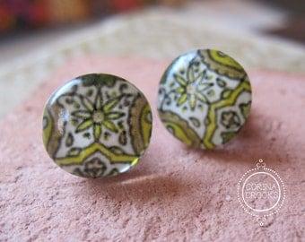 Mustard yellow studs, neutral color post earrings, Spain, Decorative Mediterranean Tile design post earrings, travel, tile
