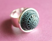 Adjustable Silver-Plated Ring with Plastic Mosaic Cabochon