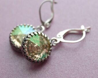 Dorah Earrings - Swarovski Crystal - Antiqued Silver Setting - Leverback Earwires