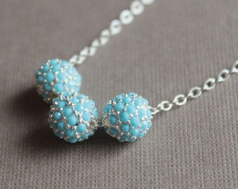 Turquoise & Silver Pavé Bead Necklace - Chain