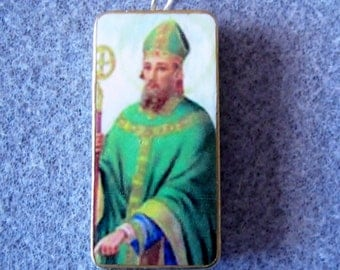 St. Patrick Catholic Art Recycled Domino Necklace Patron Ireland Barbers P4