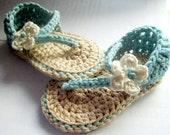 Crochet Baby Sandals Made from Pima Cotton You Choose size, colors, and embellishment