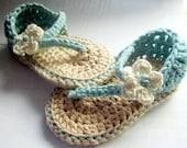Crochet bébé sandales faite de coton Pima vous choisissez taille, couleurs et embellissement