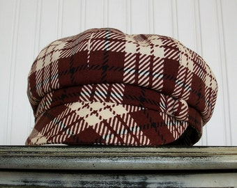 Womens Newsboy Hat- Maroon and Ivory Plaid - Newsboy Cap - Womens Caps - Womens Hats - Made To Order