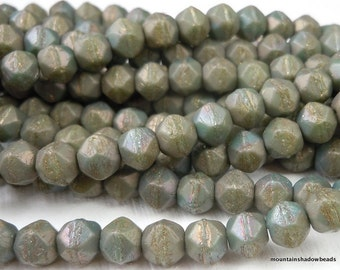 6mm English Cut Beads -  Matte Turquoise Bronze Iris - Czech Glass 25 pcs (G - 137)